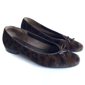 Ferragamo Animal Print Ponyhair Flat Brown Black 9